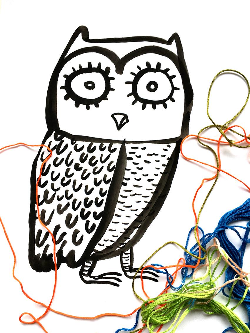 owl embroidery © Magali Bardos embroidery design