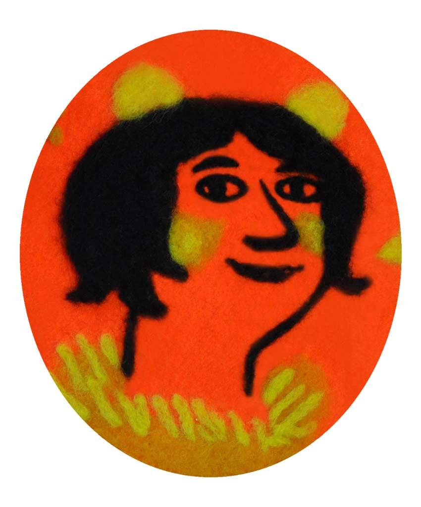 illustration textile / © Magali Bardos greeting card illustration felted wool portrait red orange yellow black