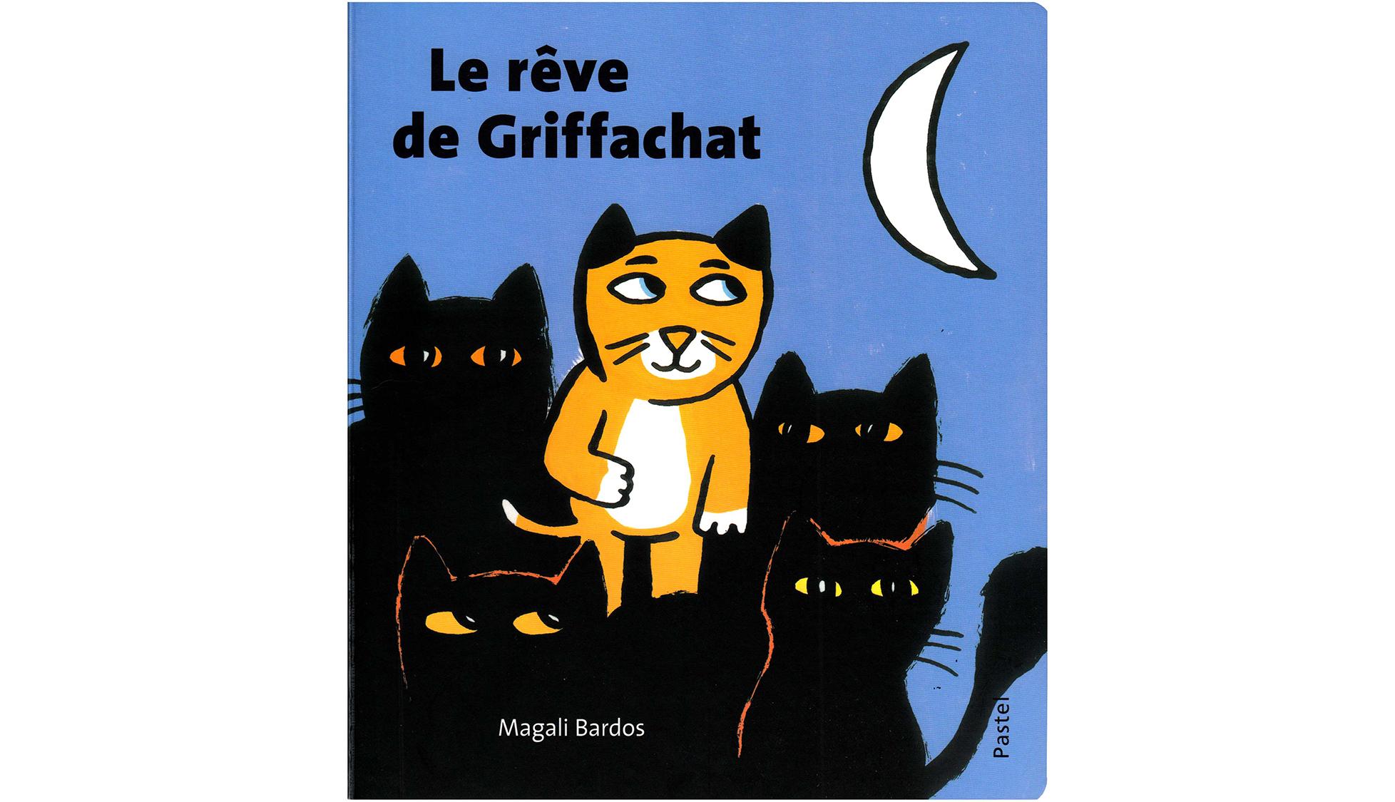 Le rêve de griffachat Magali Bardos Pastel L'école des loisirs album cartonné 0-3 ans chat nuit silhouette transformation lune souris château