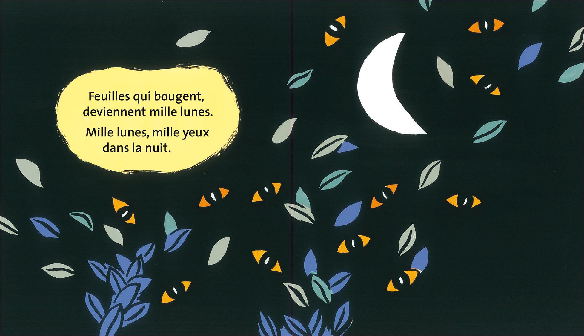 Le rêve de griffachat Magali Bardos Pastel L'école des loisirs album cartonné 0-3 ans chat nuit silhouette transformation lune yeux feuilles qui bougent dans la nuit souris château