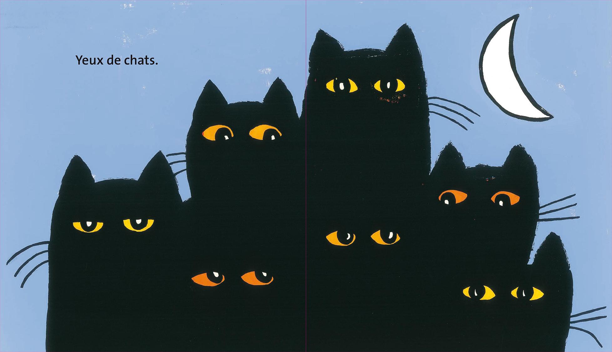 Le rêve de griffachat Magali Bardos Pastel L'école des loisirs album cartonné 0-3 ans chat nuit silhouette de chat moustaches yeux regards transformation lune souris château