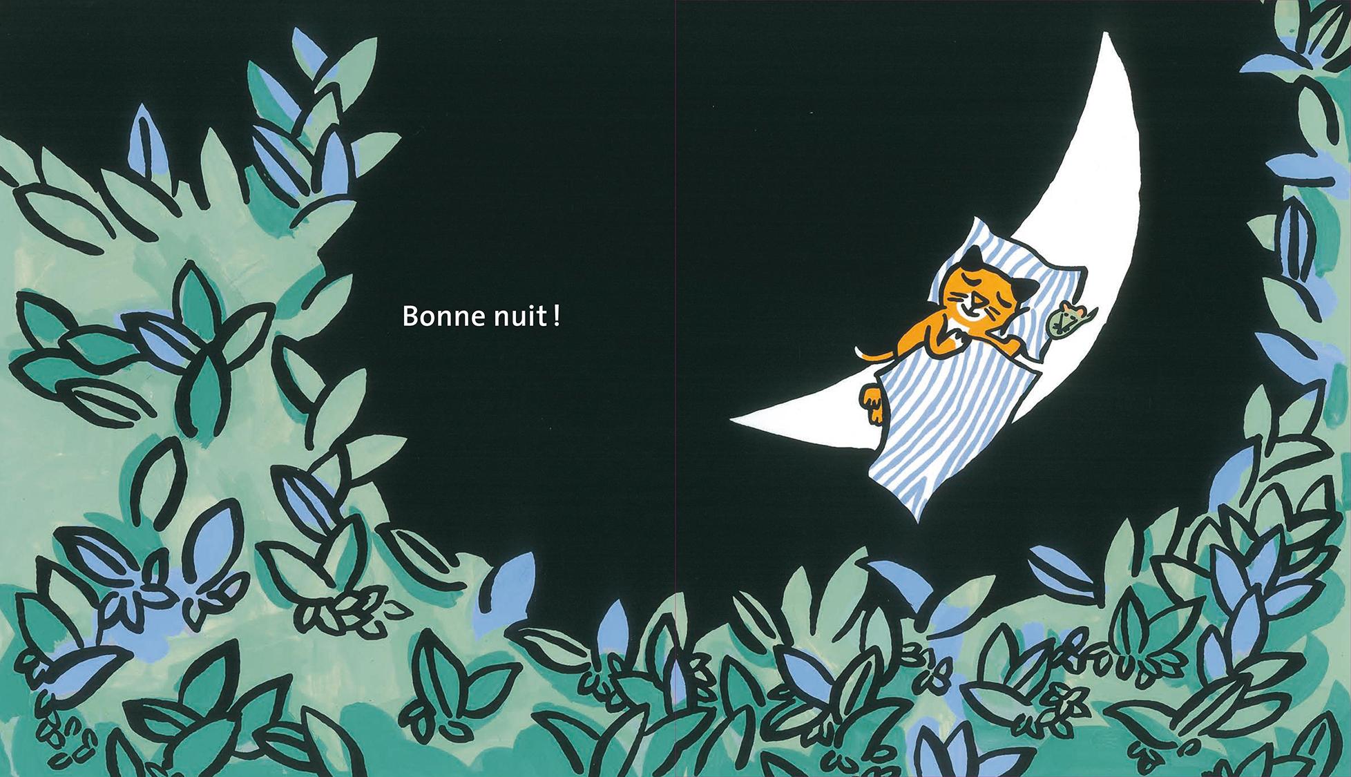 Le rêve de griffachat Magali Bardos Pastel L'école des loisirs album cartonné 0-3 ans chat nuit silhouette transformation lune souris château dodo sur la lune