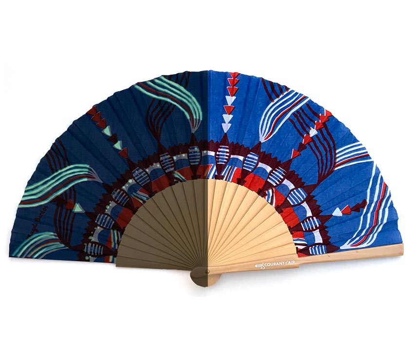 © courant d'air 03 © Magali Bardos summer heat wave handfan textile pattern silkscreen on coton cloth blue red phosphorescent