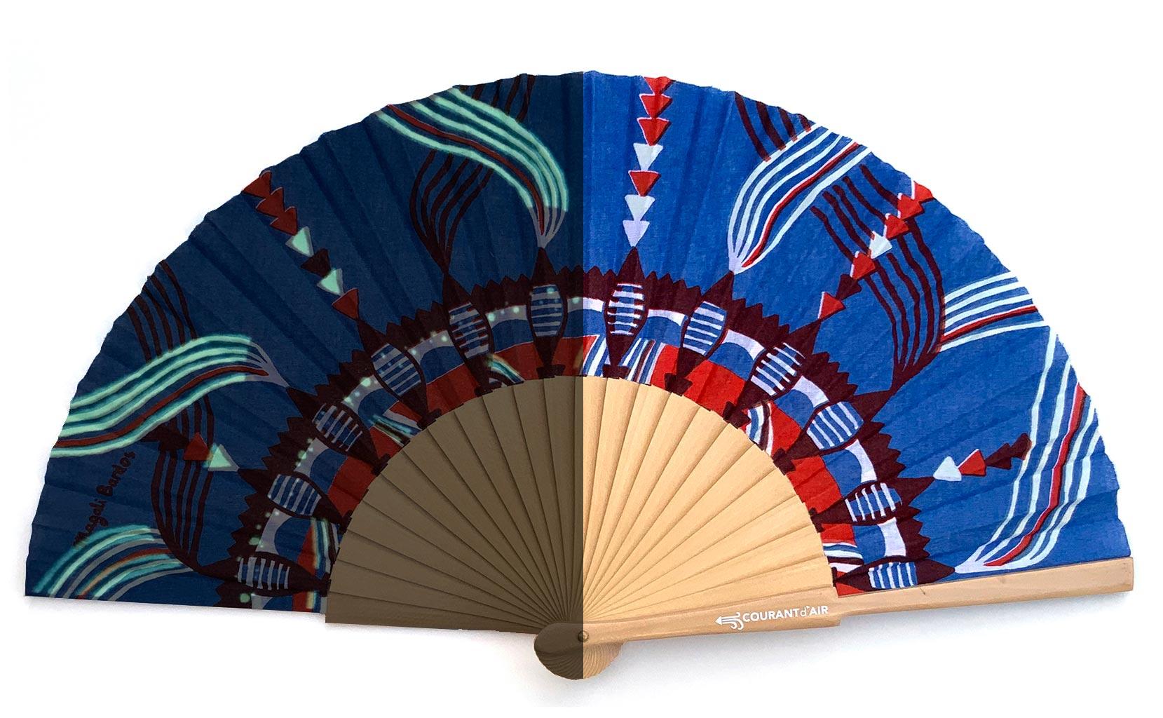 © courant d'air 03 © Magali Bardos éventail handfan motif pattern sérigraphie sur tissus silkscreen bleu rouge phosphorescent