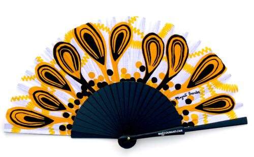 © courant d'air 04 © Magali Bardos éventail handfan motif pattern sérigraphie sur tissus silkscreen noir jaune paon