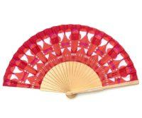 © courant d'air 01 © MagaliBardos éventail handfan motif pattern sérigraphie sur tissus silkscreen rouge rose