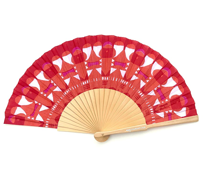 © courant d'air 01 © Magali Bardos summer heatwave handfan abanicos textile pattern silkscreen on coton red pink