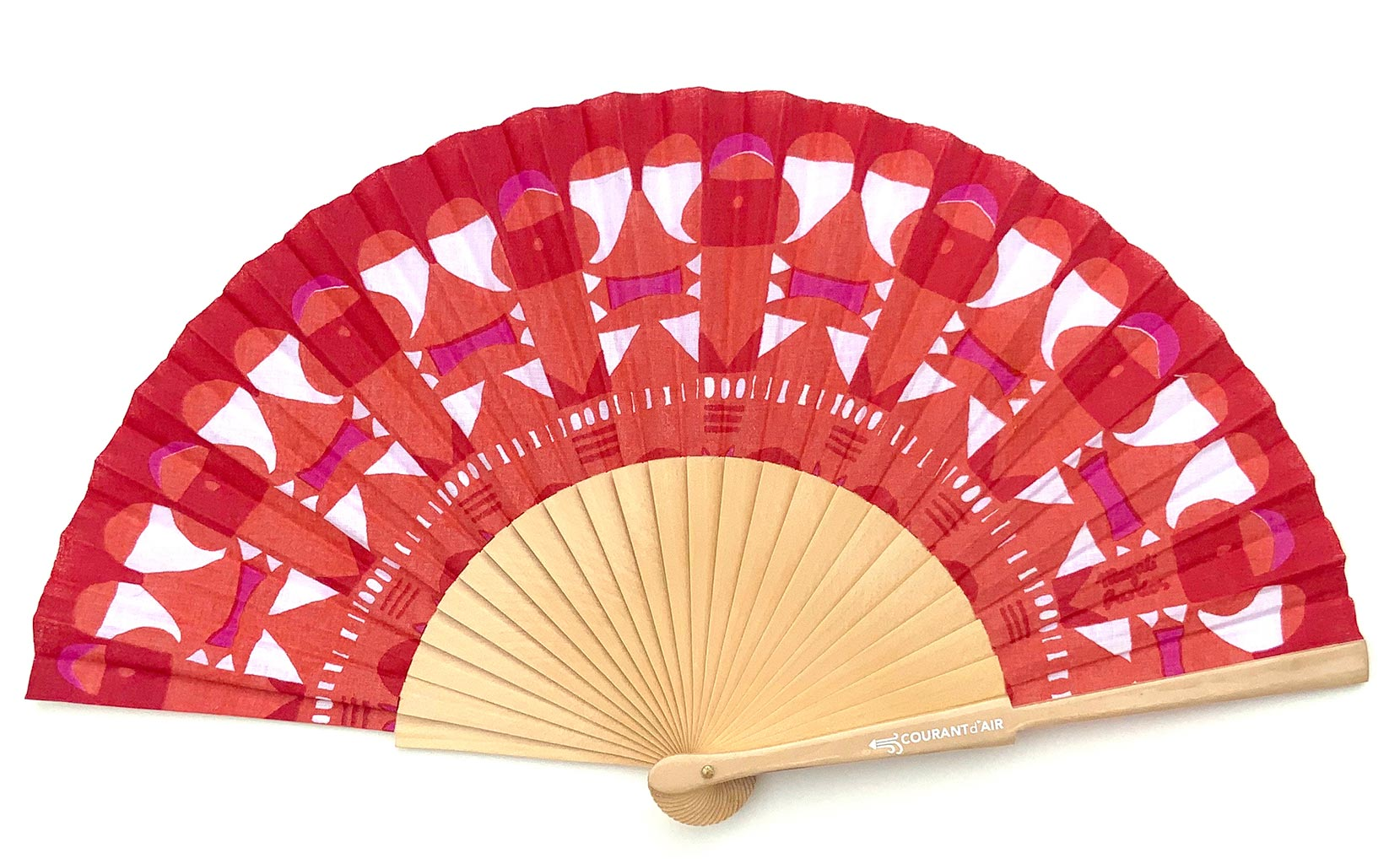 © courant d'air 01 © Magali Bardos éventail handfan abanicos motif pattern sérigraphie sur tissus silkscreen rouge rose