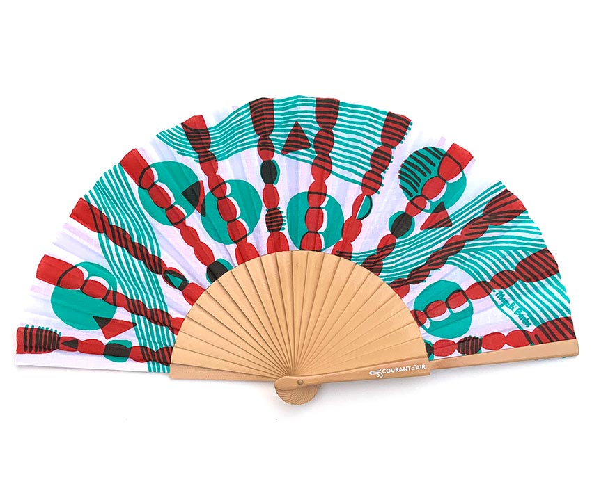 © courant d'air 02 © Magali Bardos summer heatwave handfan textile pattern silkscreen on coton cloth green red abanicos
