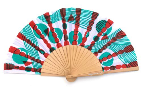 © courant d'air 02 © Magali Bardos éventail handfan motif pattern sérigraphie sur tissus silkscreen vert rouge