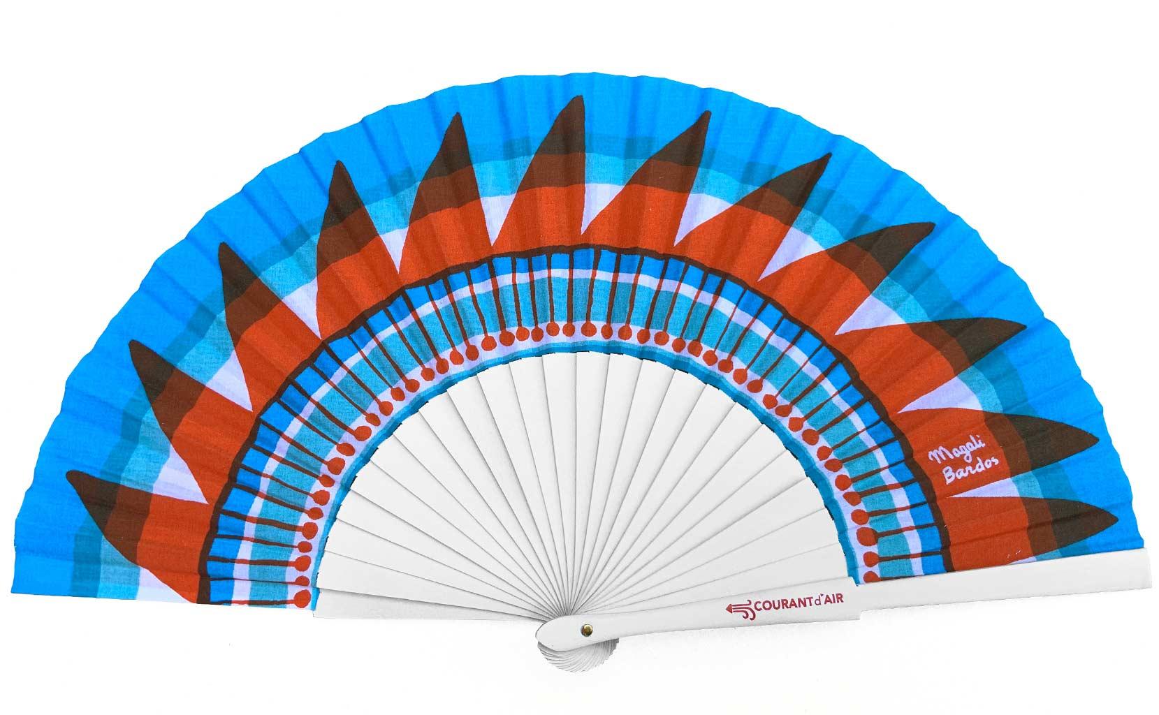 Sunscreen ©courant d'air © Magali Bardos éventail handfan motif pattern sérigraphie sur tissus silkscreen bleu rouge blanc iroquois soleil