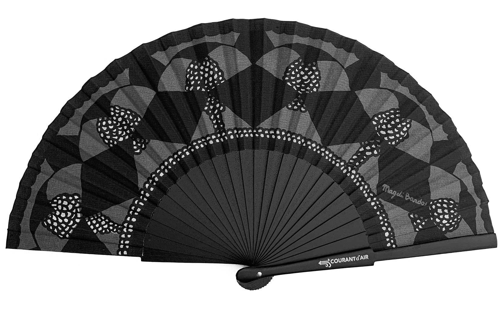 Dentelle ©courant d'air © Magali Bardos éventail handfan motif pattern sérigraphie sur tissus silkscreen noir gris