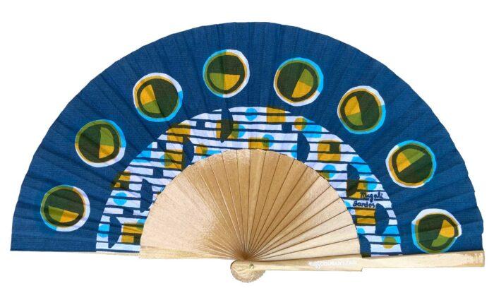 Eclipse © courant d'air © Magali Bardos éventail handfan abanicos motif pattern sérigraphie sur tissus silkscreen bleu jaune cycle de la lune
