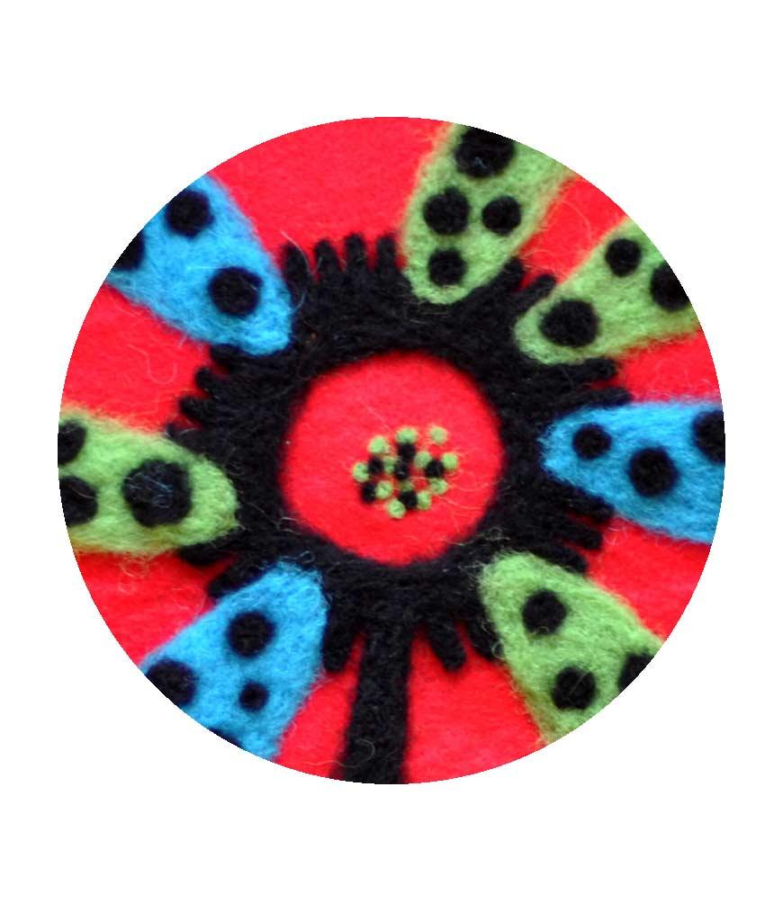 carte de voeux 2020 Magali bardos illustration laine feutrée fleur rouge vert bleu noir