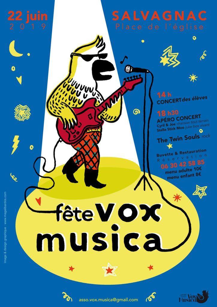 Affiche Magali Bardos fête vox musica fête de la musique concert rock guitare perroquet salvagnac étoile lune projecteurs 2019