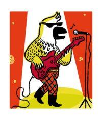Affiche Magali Bardos fête vox musica fête de la musique concert rock guitare perroquet salvagnac étoile lune projecteurs 2018