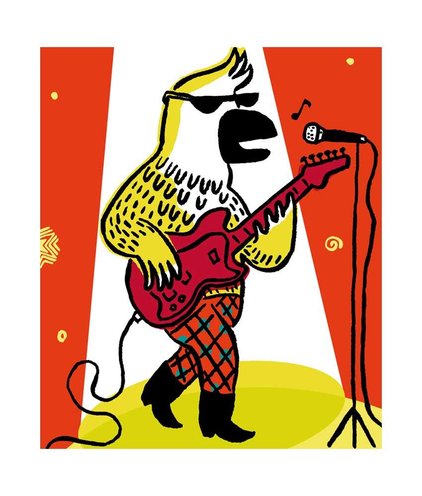 Poster Magali Bardos vox musica fête de la musique concert rock guitar parrot salvagnac star moon spotlight cinema festival rabastens ombres blanche children workshop le temps des mômes theatre festival Pastel l'école des loisirs banc sonore croquis