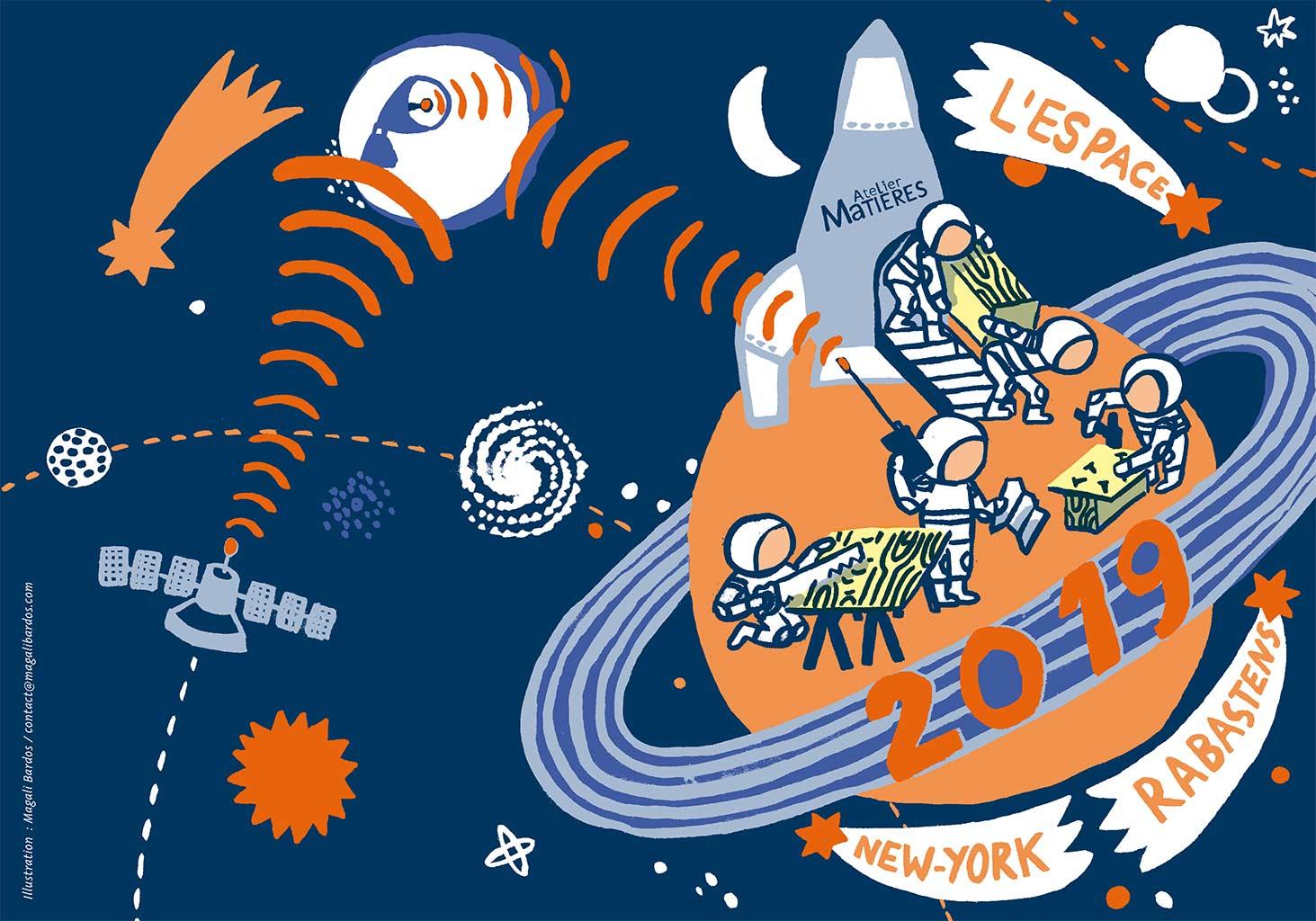 carte de voeux 2019 Atelier Matières © Magali Bardos menuiserie espace cosmonaute outils scie marteau caisse à outils jaune orange ciel