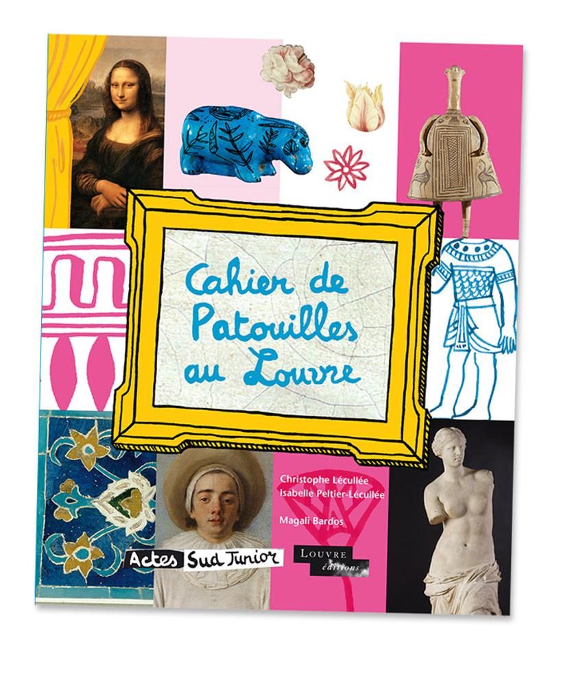 Cahier de Patouilles au louvre © Magali Bardos Actes sud junior activity book labyrinth galleries painting sculpture bust monalisa venus de milo drawing coloring