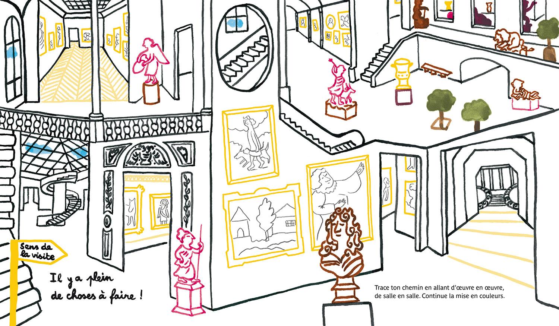 Cahier de Patouilles au louvre © Magali Bardos Actes sud junior cahier d'activité labyrinthe galeries peinture sculpture buste dessin coloriage