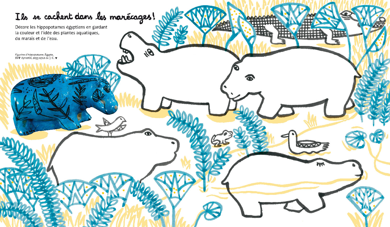 Cahier de Patouilles au louvre © Magali Bardos Actes sud junior cahier d'activité egypte antiquités hippopotame papyrus marécages oiseau grenouille bleu jaune dessin coloriage