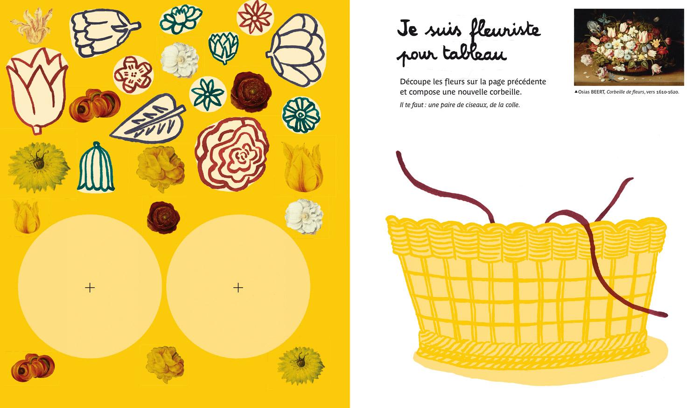 Cahier de Patouilles au louvre © Magali Bardos Actes sud junior cahier d'activité corbeille de fleurs nature morte dessin coloriage découpage collage