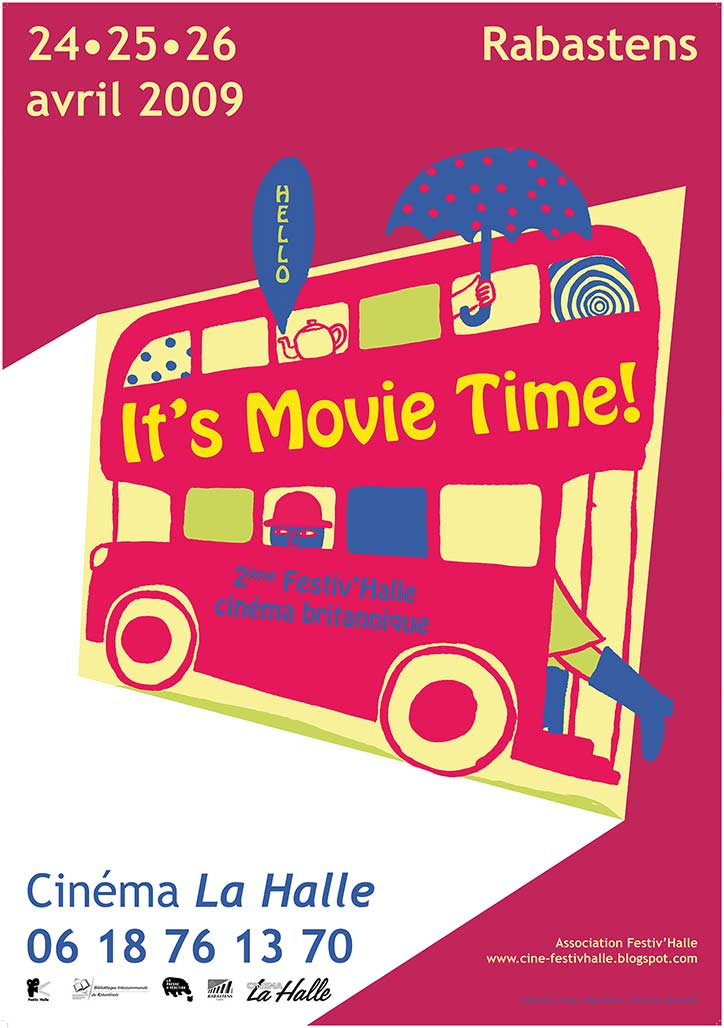 Affiche Magali Bardos Festiv'halle Halle de Rabastens festival de cinéma britannique 2009