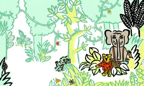 On est foutus © Magali Bardos L'école des loisirs Pastel album jeunesse illustration gouache tigre éléphant oiseau jungle livre pour enfants