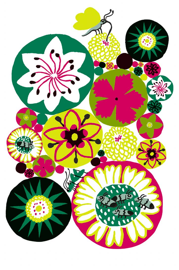 Mirette Affiches pour bébé sur le thème des fleurs développement de la vision de bébé à partir de 3 mois ronds fleurs insectes