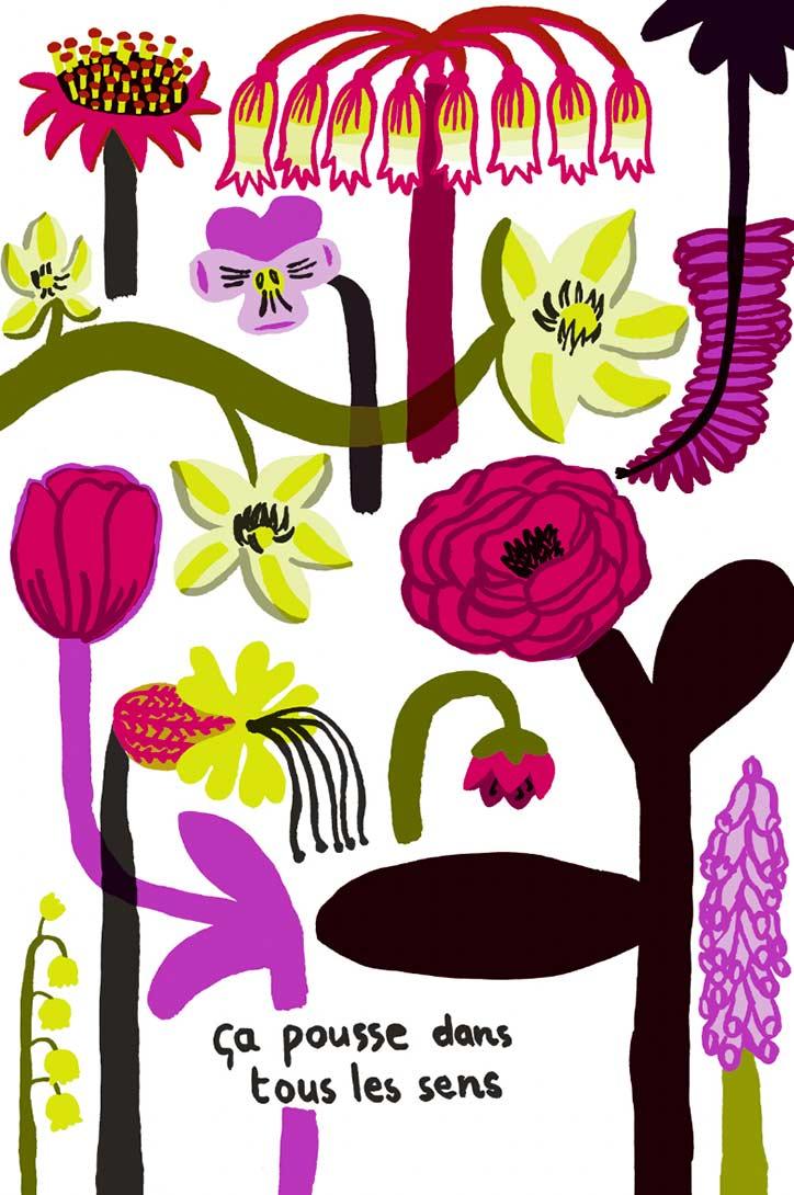 Mirette Affiches pour bébé sur le thème des fleurs développement de la vision de bébé à partir de 3 mois ça pousse dans tous les sens fleurs