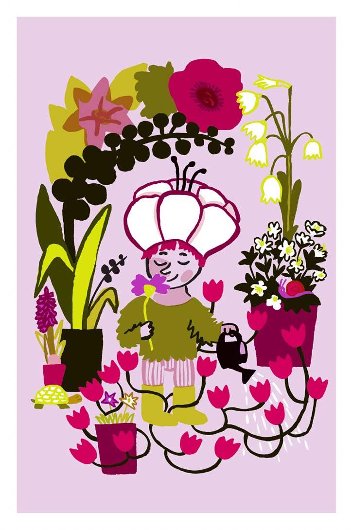 Mirette Affiches pour bébé sur le thème des fleurs développement de la vision de bébé à partir de 3 mois jardinier tortue arrosoir fleurs
