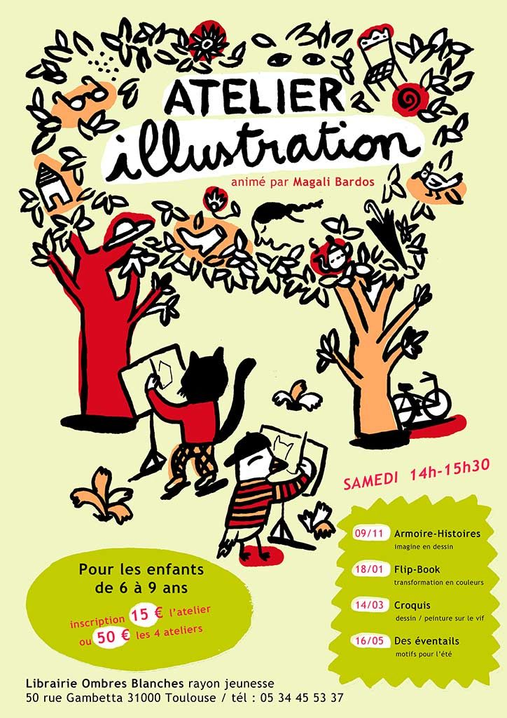 Affiche Magali Bardos atelier illustration Librairie Ombres Blanches Toulouse rayon jeunesse