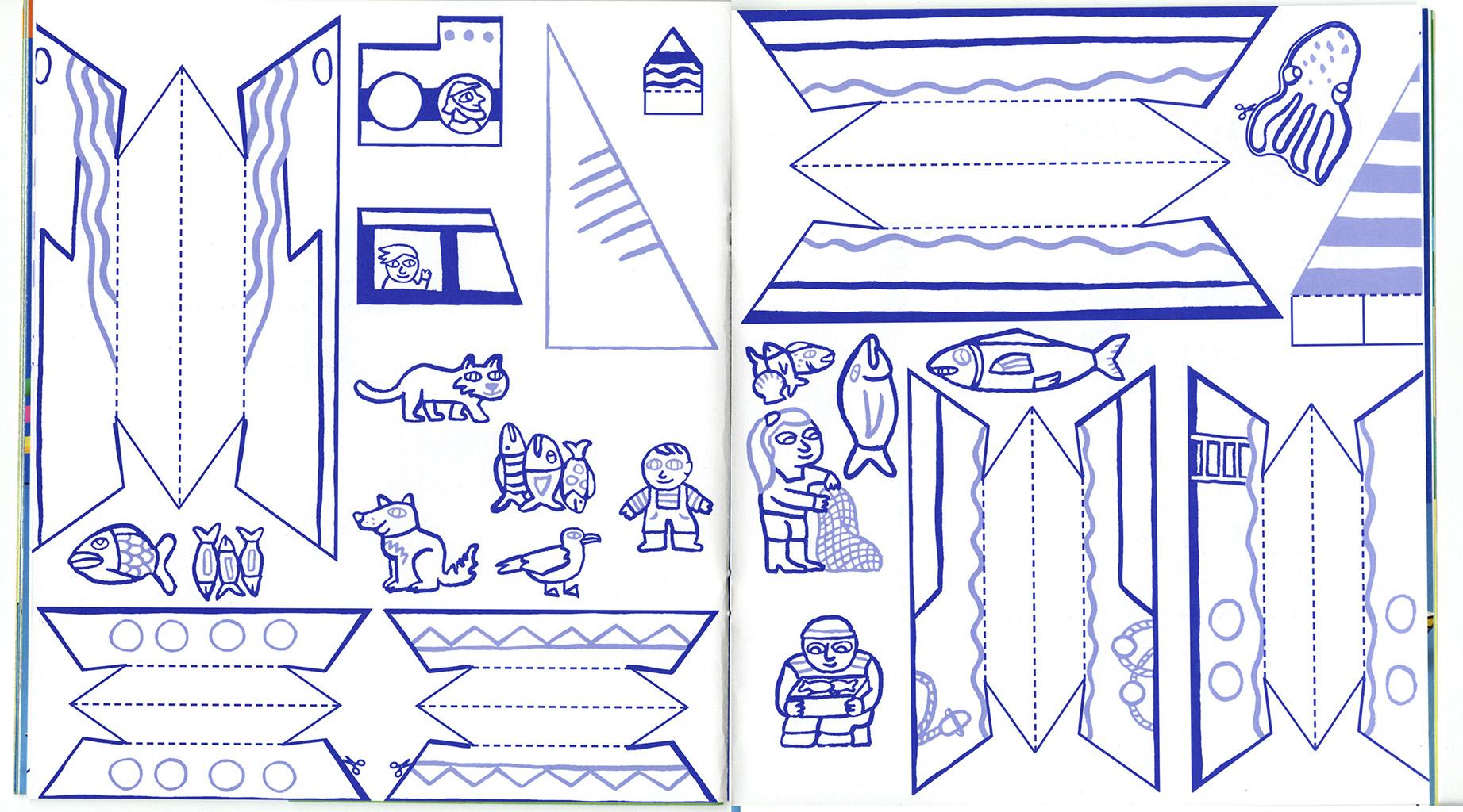 Pomme d'api petit port Magali Bardos pêcheur bleu poisson jeu maquette Bayard presse coloriage
