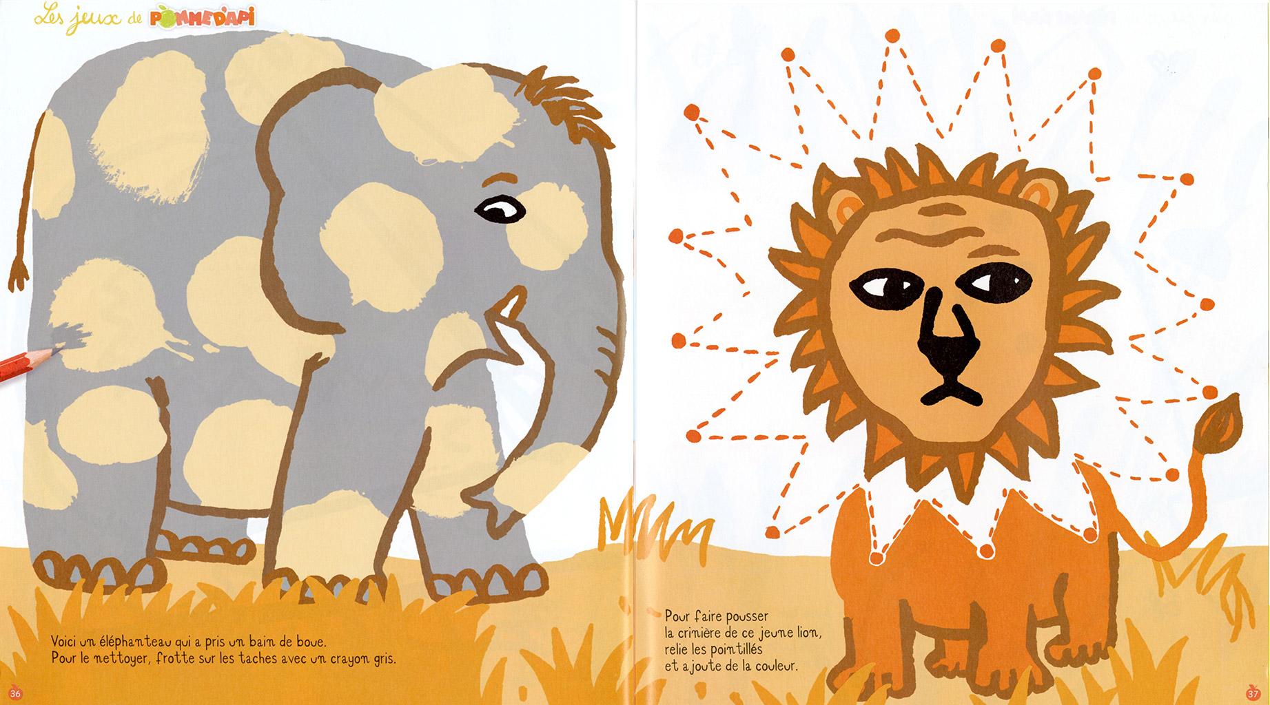 Pomme d'api jeux savane lion éléphant léopart Magali Bardos Bayard presse