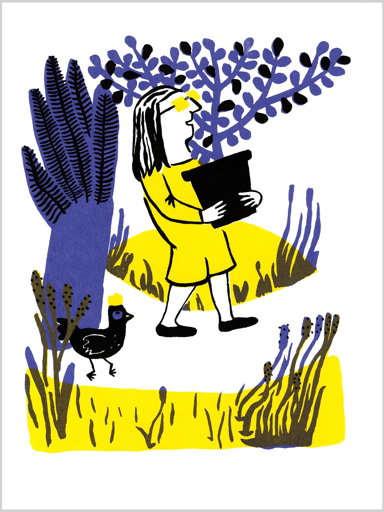 Mon amie Poulette 01 © Magali Bardos sérigraphie affiche silkscreen printing poster jaune violet noir yellow black