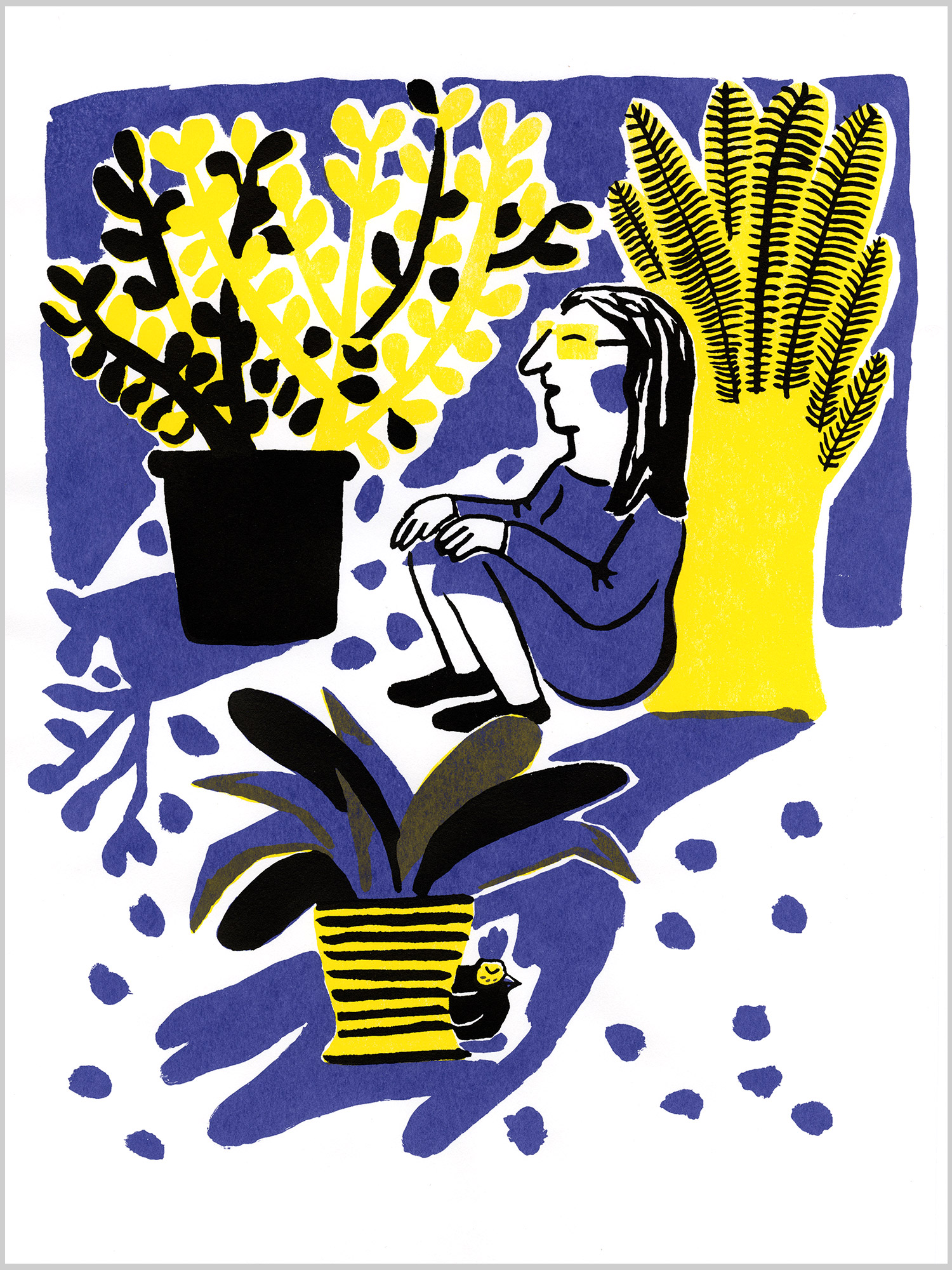 Mon amie Poulette 02 © Magali Bardos sérigraphie affiche silkscreen printing poster jaune violet noir yellow black