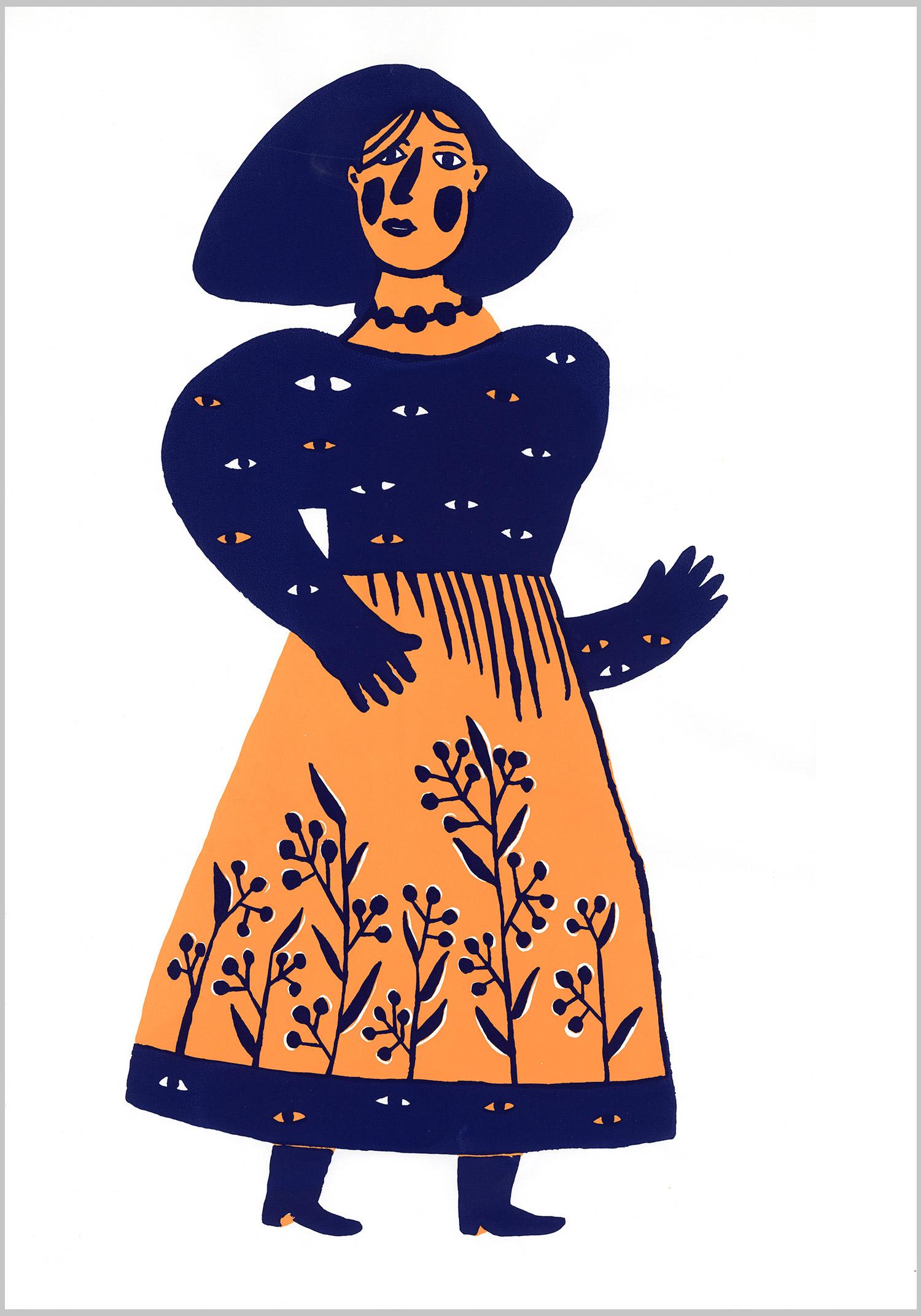 Regards © Magali Bardos sérigraphie silkscreen bichromie bleu orange blue costume robe dress motif pattern fleur yeux femme woman flower eyes