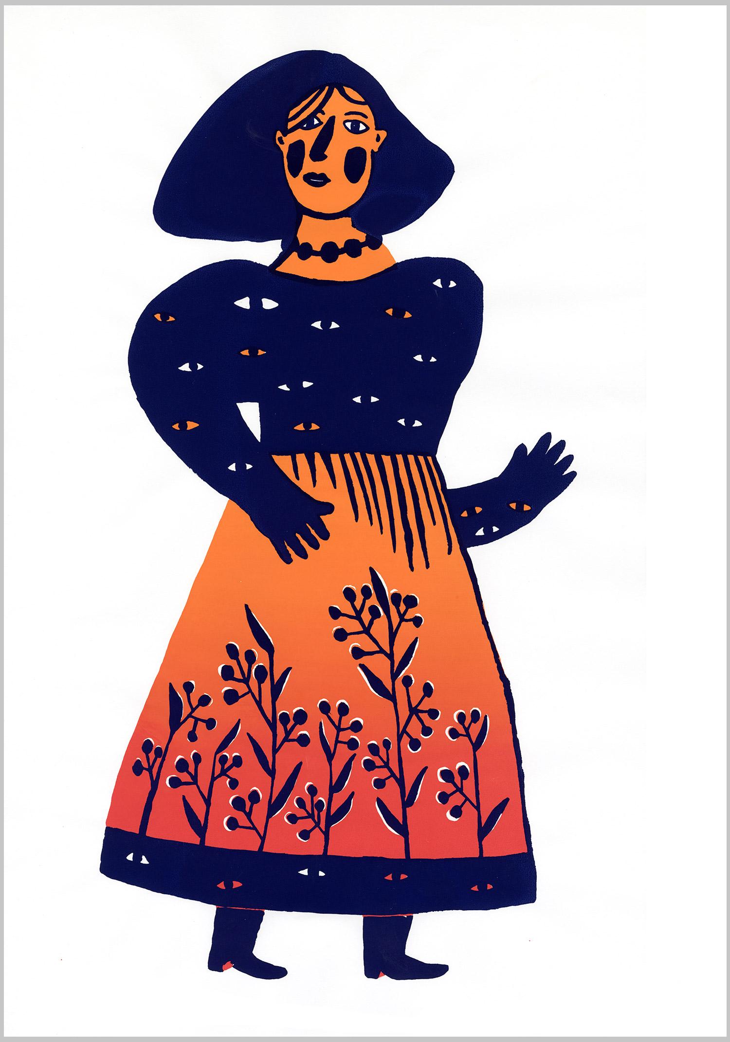 Regards © Magali Bardos sérigraphie silkscreen dégradé bleu orange rouge blue red costume robe dress motif pattern fleur yeux femme woman flower eyes