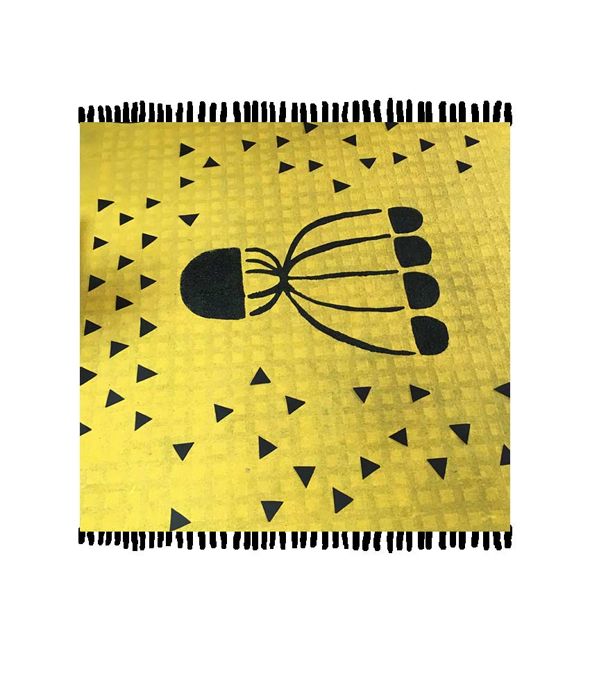 Painted carpet Magali Bardos stencil scenography for the dance workshop Rabastens pattern flower triangle yellow black