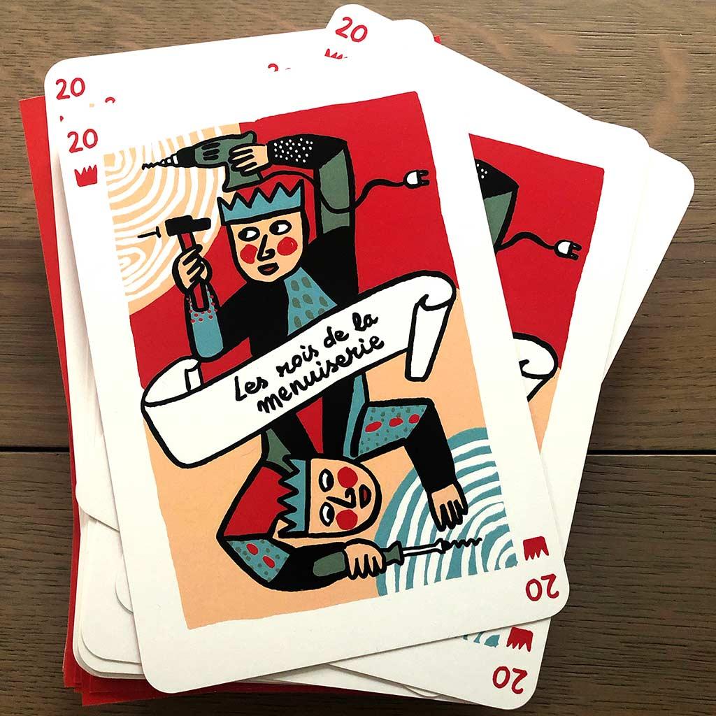 carte de voeux 2020 Atelier Matières © Magali Bardos les rois de la menuiserie carte à jouer outils scie marteau clou visseuse tourne vis caisse à outils rouge bleu rose noir