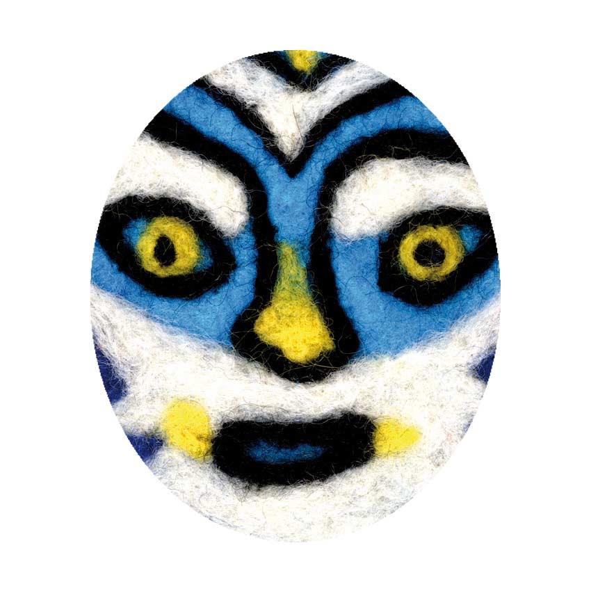 carte de voeux 2021 ©Magali Bardos laine feutrée masque théâtre scène bleu rideau étoile orange jaune visage