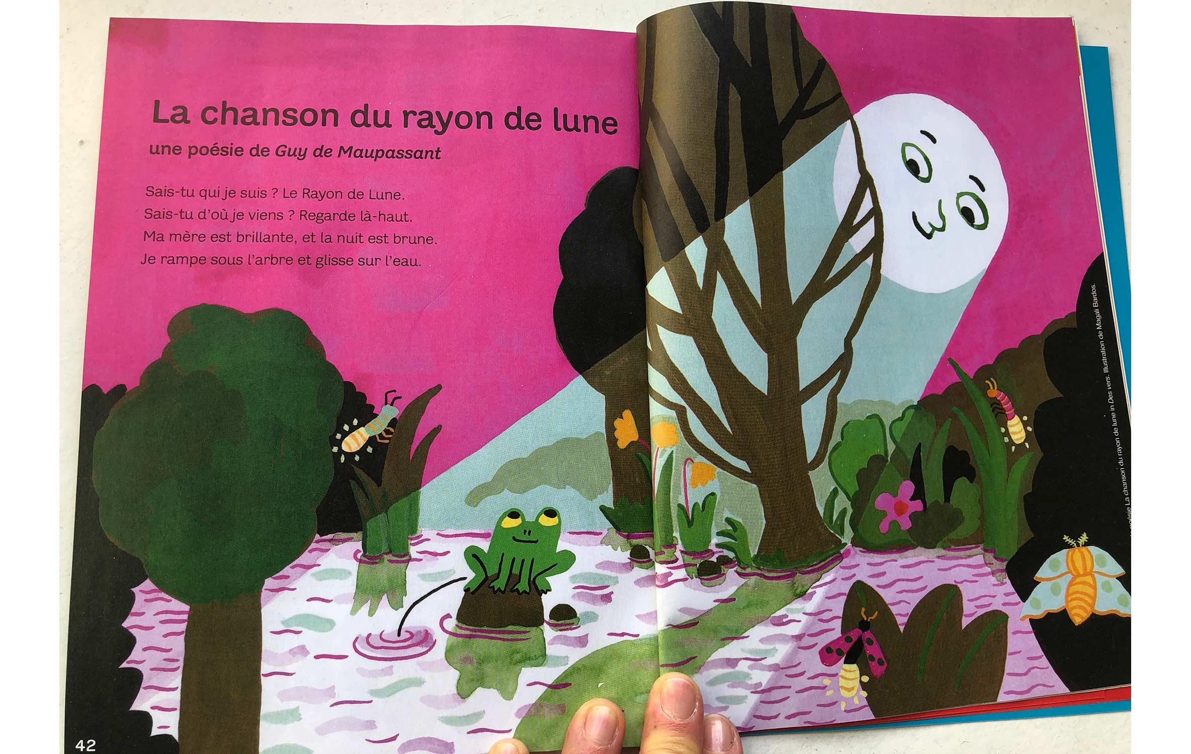 Le rayon de lune poésie Maupassant © Magali Bardos Milan presse J'apprends à lire gouache grenouille