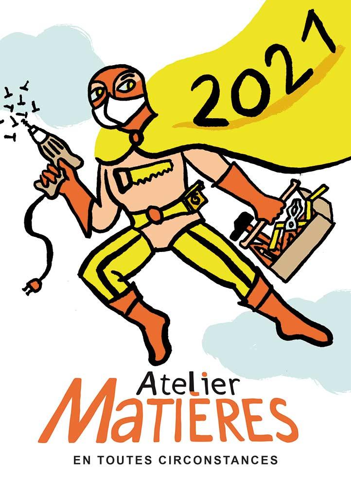carte de voeux 2021 Atelier Matières © Magali Bardos menuiserie super héros outils scie marteau caisse à outils jaune orange ciel