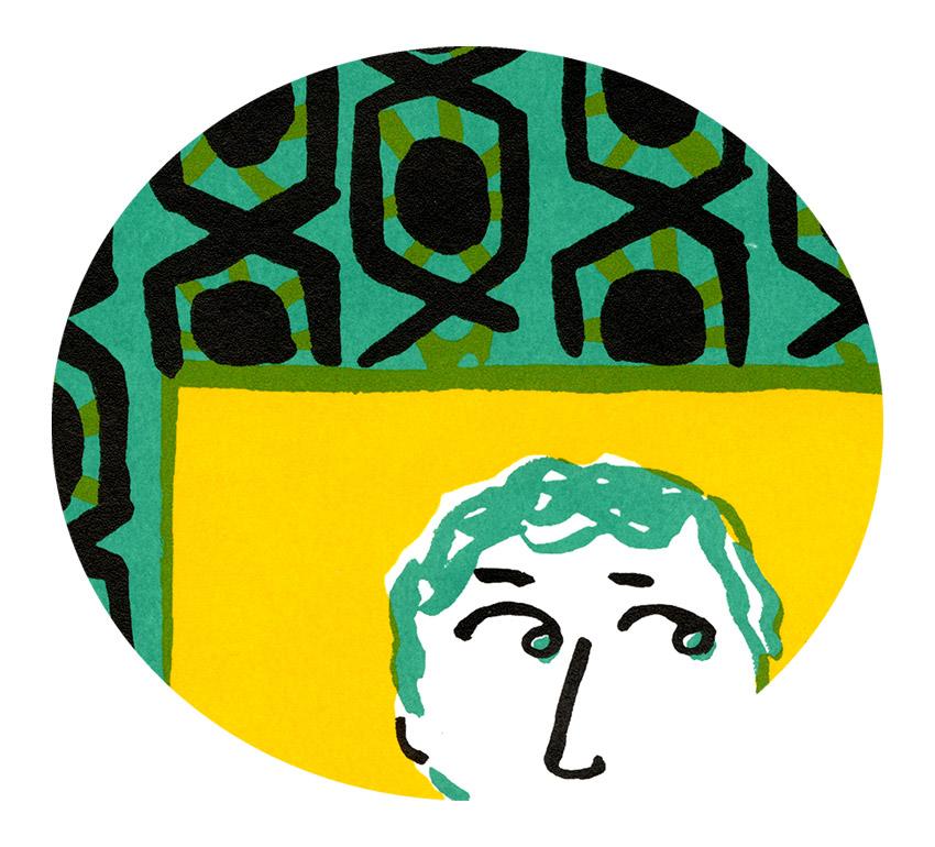 Interlacing Magali Bardos window love couple pattern green yellow black poster