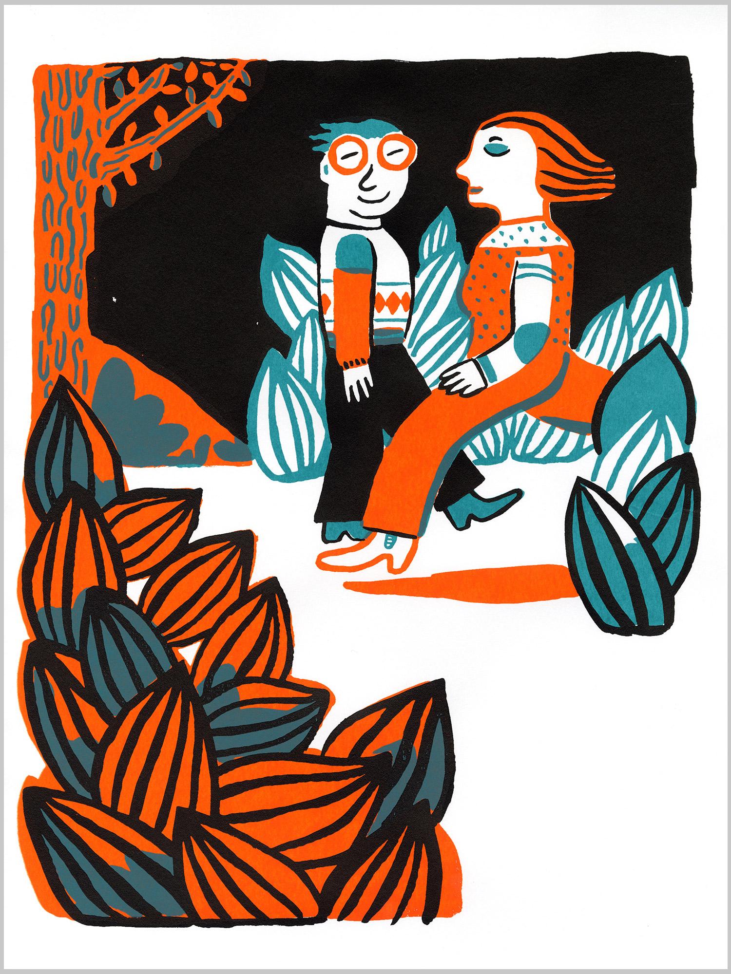 sérigraphie La Course Magali Bardos silkscreen printing orange bleu blue black noir lunette bottes motifs végétation feuilles glasses pattern leaves