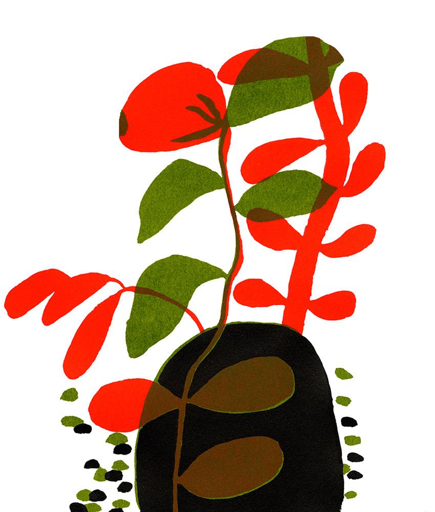 La Pause © Magali Bardos sérigraphie affiche silkscreen printing poster rouge vert noir red green black chaussettes âne randonnée dunky socks treck