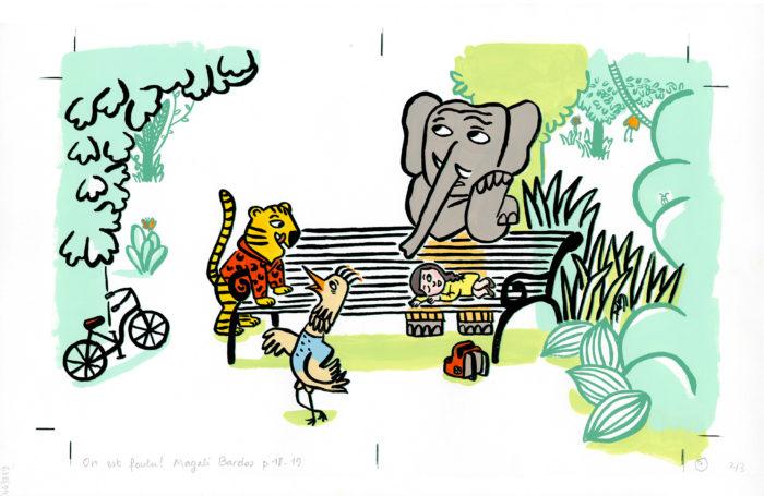 On est foutus Magali Bardos Pastel L'école des loisirs album jeunesse illustration originale perdu dans la forêt jungle animaux petite fille éléphant tigre oiseau