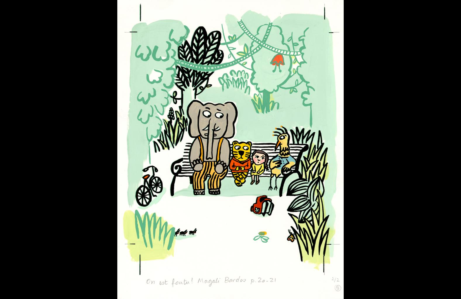 Illustration-On-est-foutus-Magali-Bardos-gouache-L'école des loisirs-Pastel album livre pour enfants