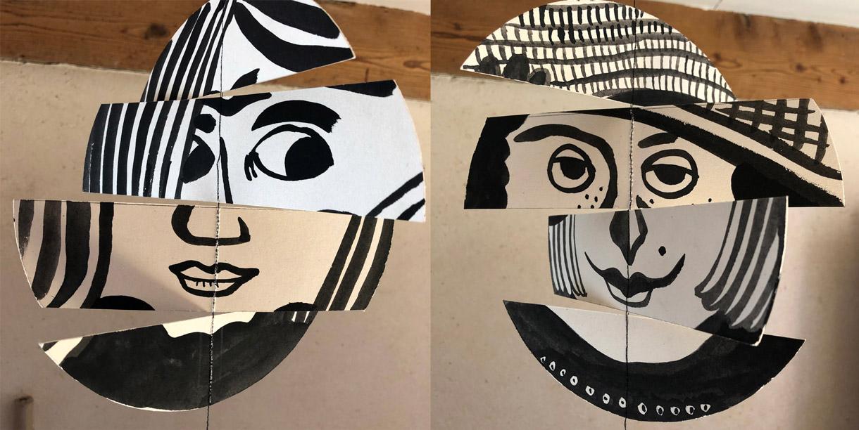 Magali Bardos mobiles visages mouvement sourires regards encre gouache