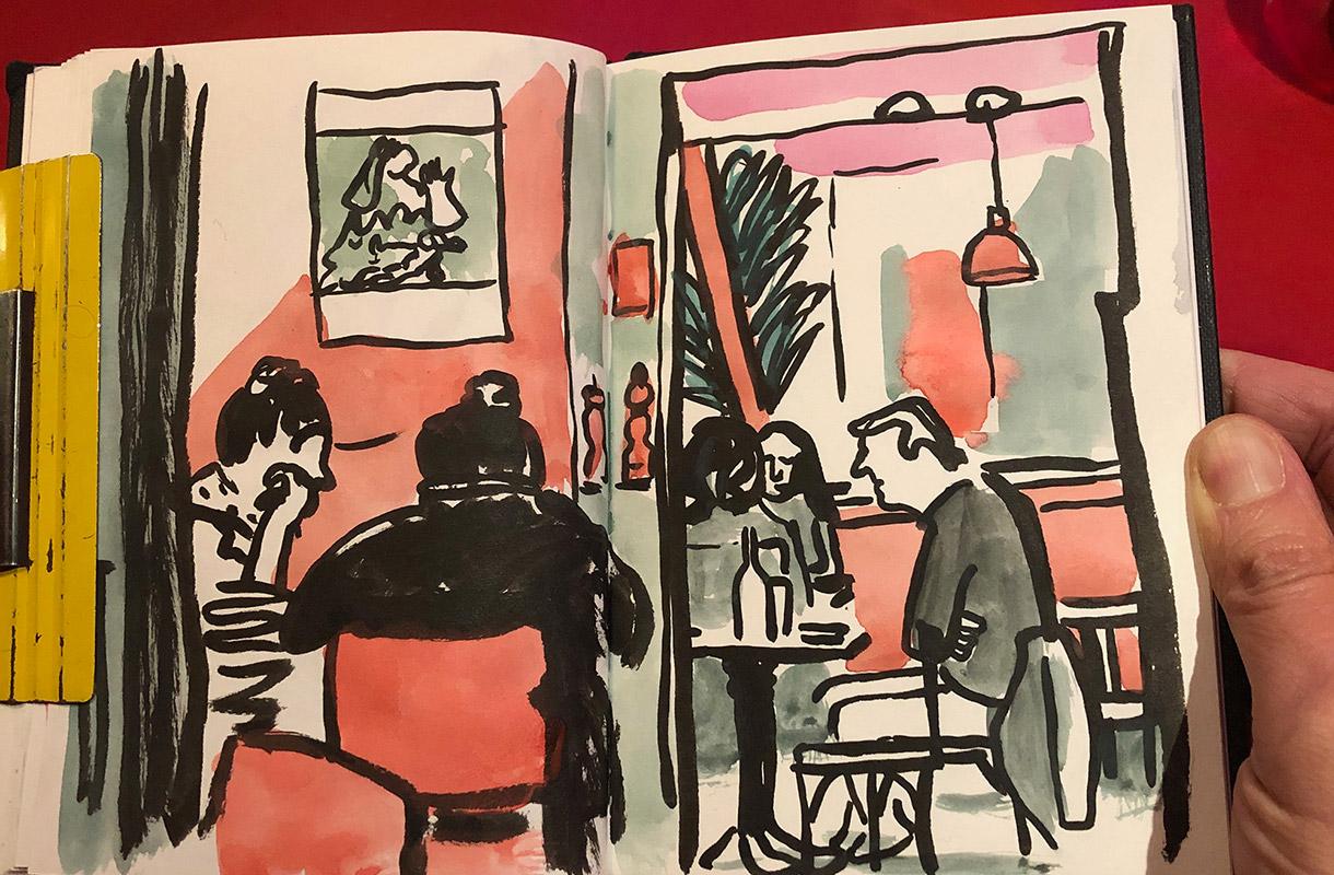 Magali Bardos carnet de croquis café ambiance cool rose rouge encre gouache